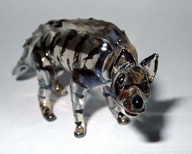A glass striped hyena.