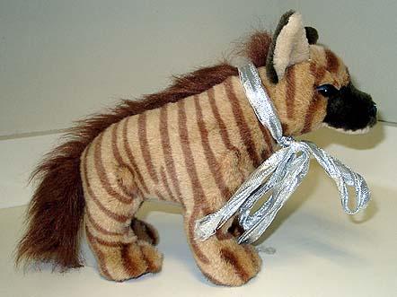 A plush striped hyena.