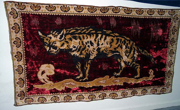 A striped hyena rug.