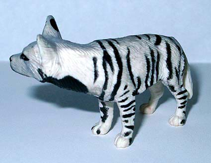 A striped hyena toy.